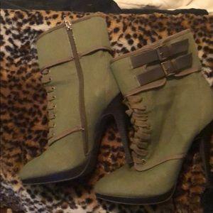 """Green khaki boots,brown trim, side zipper, 4""""heels"""